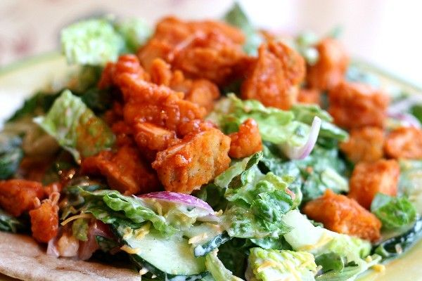 Buffalo Chicken Salad with carrots, celery, and blue cheese topped ...