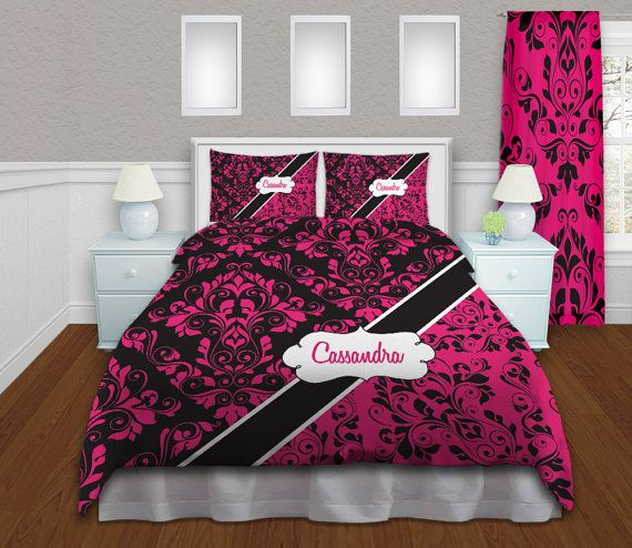 Hot pink and black bedding customized damask bedding mod bedding p
