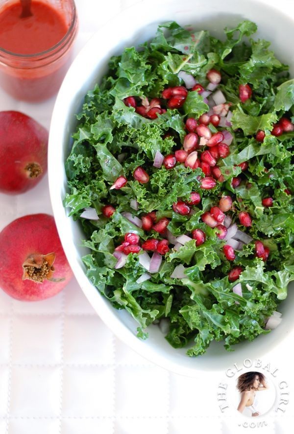 Raw Food Recipe: Raw Kale and Pomegranate Salad with Raspberry ...