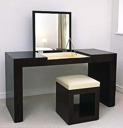 Vanity desk ebonized black ash closet vanity space for Black makeup desk