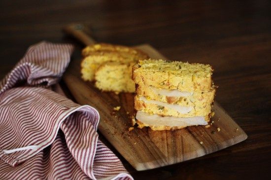 Cornbread made with fresh sweetcorn, cheddar cheese, honey and chilli ...