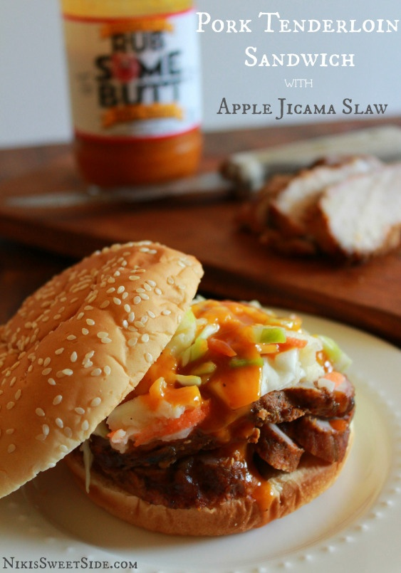 Pork Tenderloin Sandwiches with Apple Jicama Slaw and Carolina Style ...