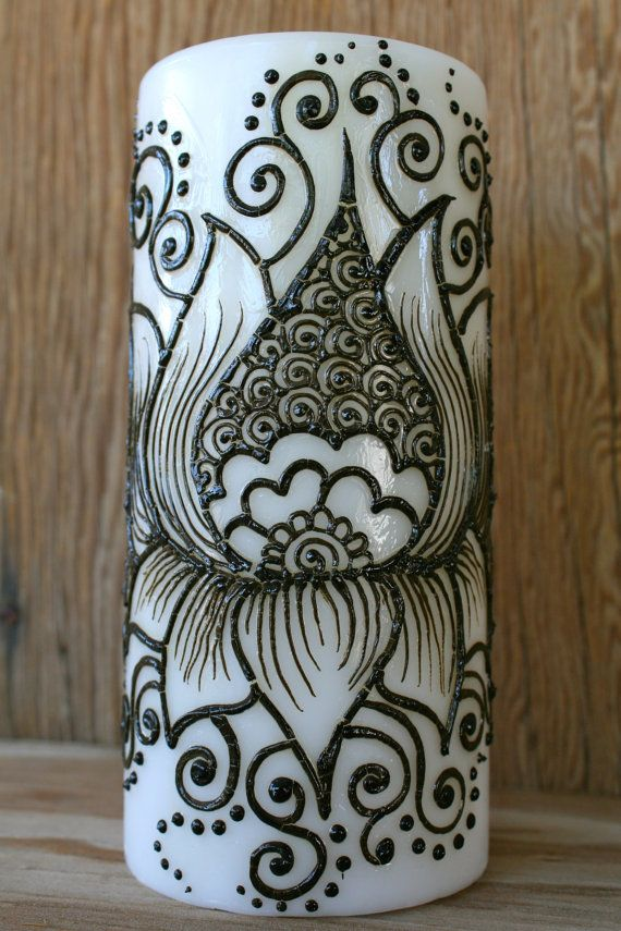 Henna Lotus Flower Candle White pillar candle by RedwoodHenna, $30.00