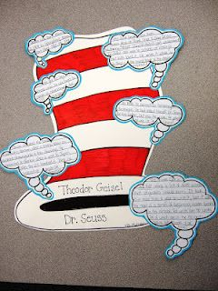 """Students and I liked this creative alternative to traditional biographies so much that I decided we'd have to make our Dr. Seuss one"" ""Students get to choose which facts they include/feel are most important about Seuss"" (from The Inspired Classroom)"