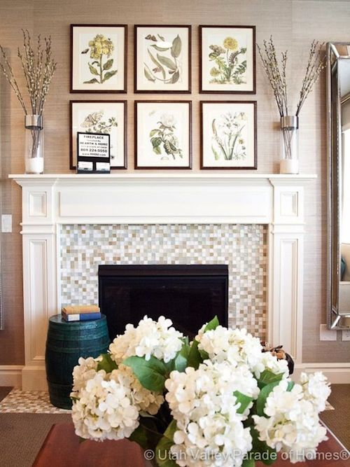 Art arrangement above mantel fireplace wall pinterest Painting arrangements on wall
