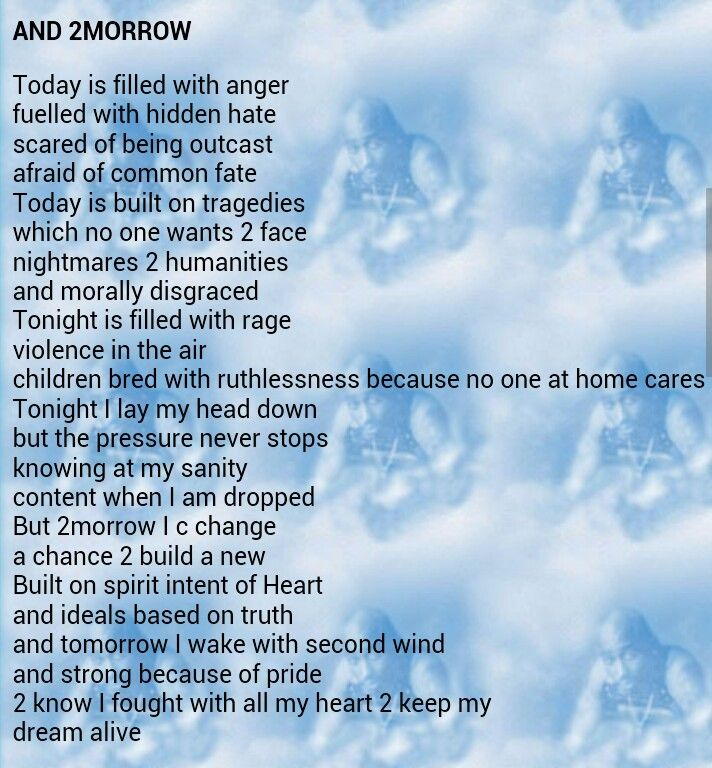 tupac poem summary 2morrow Tupac shakur, 2pac, tupac shakur poems, welcome to tupac shakur poets page collection of this famous rapper poems can be found here ( 2pac - tupac shakur poetry.