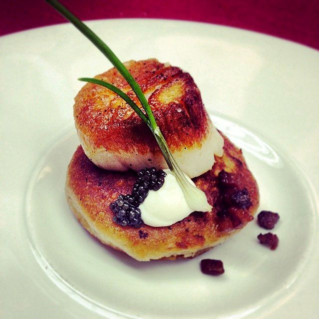 Pan roasted day boat scallop with bacon potato pancake, Creme fraiche ...