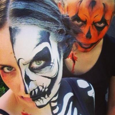 Scary Body Painting Fun Bodypainting Artwork Halloween Skeleton