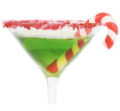GRINCH -- Ingredients:  2 oz Midori,  1/2 oz lemon juice,  1 tsp simple syrup, and  maraschino cherry for garnish.  Preparation:    Pour the ingredients into a cocktail shaker with ice.  Shake well.  Strain into a chilled cocktail glass.