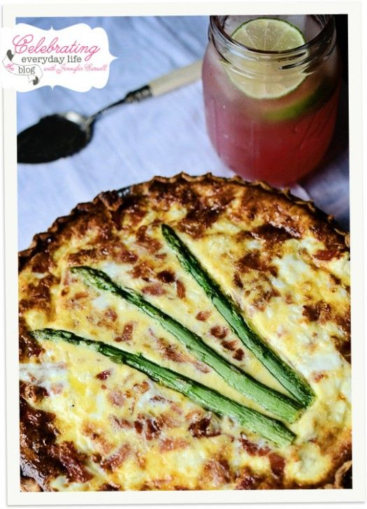 Quiche with feta, sharp & extra sharp cheddar; includes asparagus ...