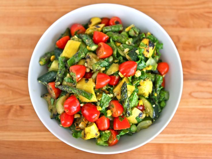 Grilled Vegetable Salad with Basil Lemon Dressing - Delicious Summer ...