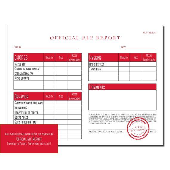 ELF ON THE SHELF | ELF REPORT | NAUGHTY OR NICE LIST | PRINTABLE