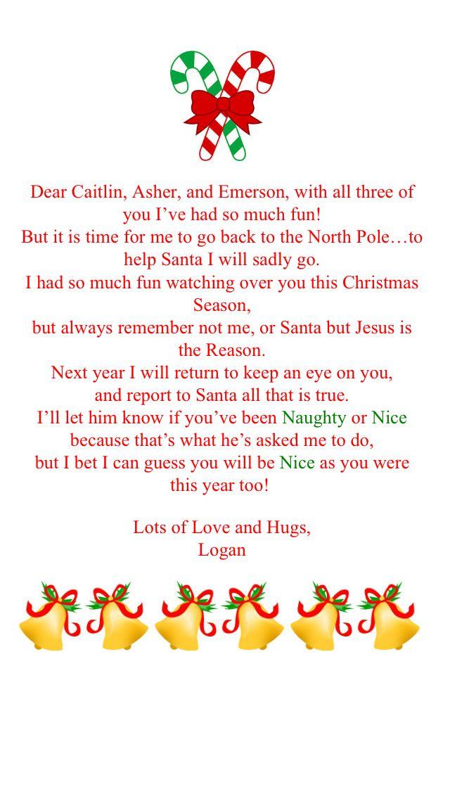 Goodbye letter to elf on the shelf christmas pinterest