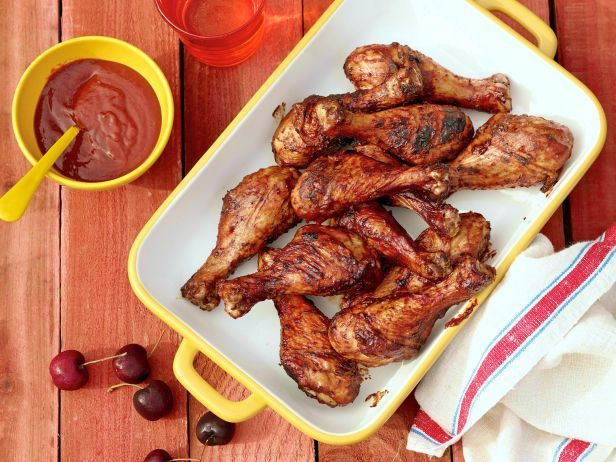 Recipe of the Day: The Neelys' Cherry BBQ Chicken Drumsticks  Thanks to the pairing of cherries and smoky spices, their smooth barbecue sauce is both sweet and tangy. #BBQ #Cherry #RecipeOfTheDay