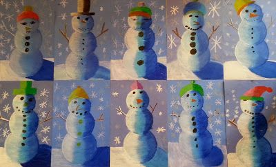 4th grade value snowmen using oil pastels