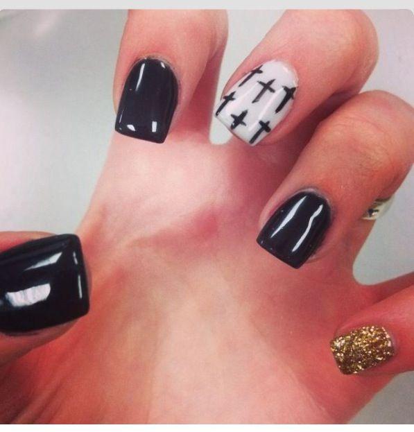 Black Cross Nail Design Design Nailart Crosses Nails Art Colors