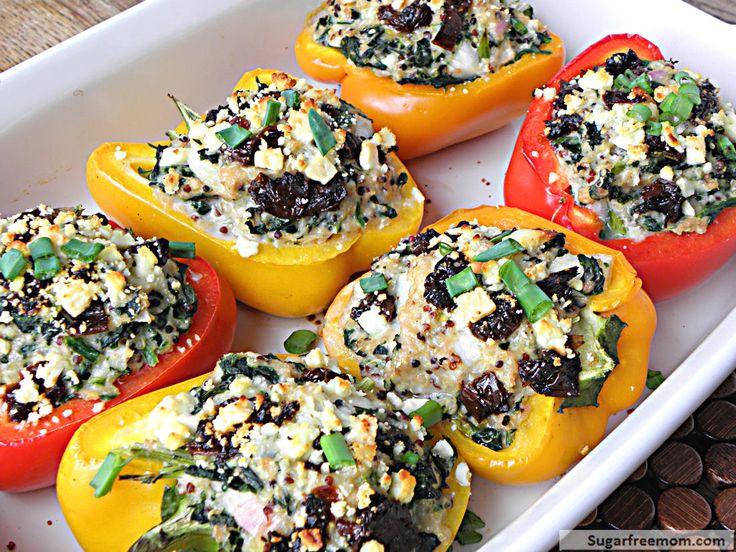Greek Style Quinoa Chicken Stuffed Peppers | Recipe