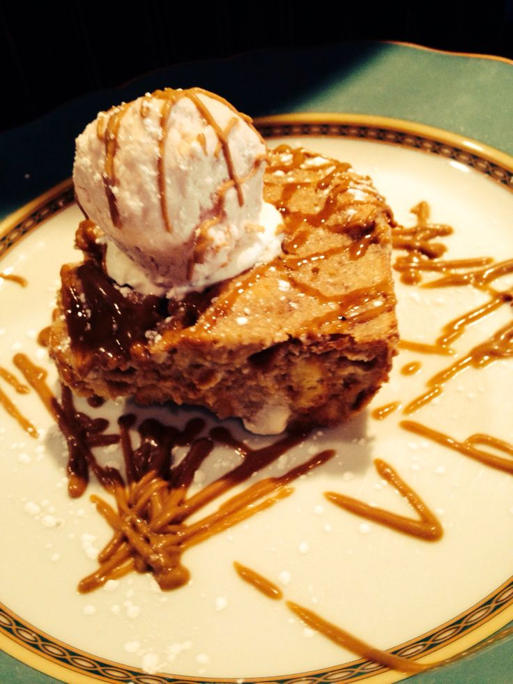 Banana Bread Pudding with Strawberry White Chocolate Ice Cream and ...