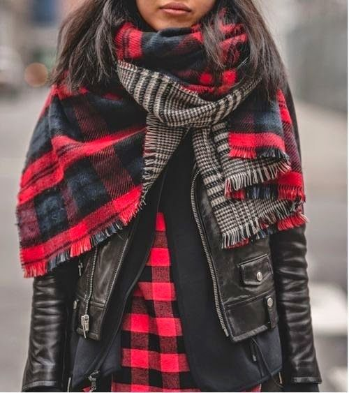 Buffalo check, leather jacket and tartan plaid scarf