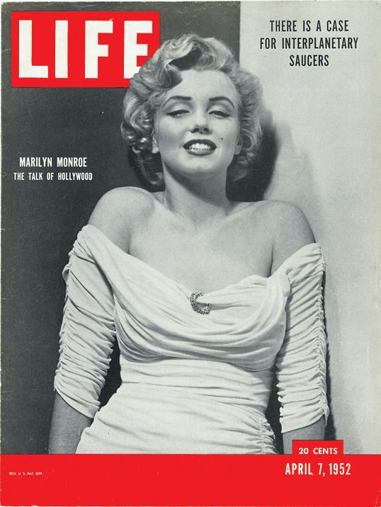 April 7, 1952: Marilyn Monroe's first LIFE cover. This photograph by Philippe Halsman graced the first of many cover stories on Monroe for the magazine. See more photos of Monroe: http://ti.me/z16Oy7