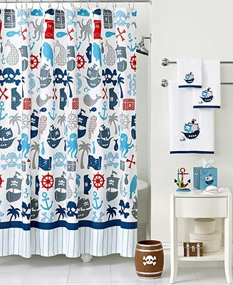 Kids Bathroom Accessories on Kassatex Bath Accessories  Pirates Shower Curtain   Shower Curtains