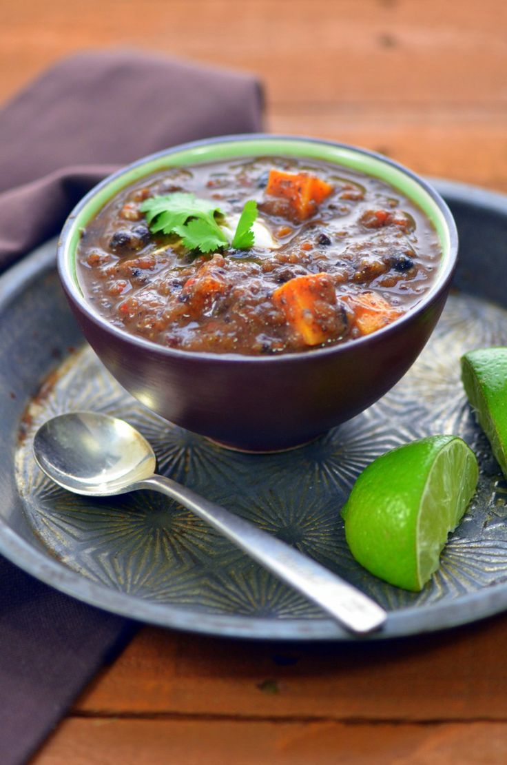 Black Bean and Sweet Potato Soup   vegetarian recipes   Pinterest