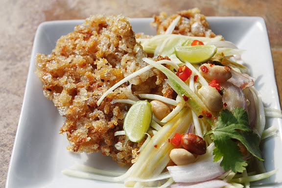 thai crispy fish with green mango salad | fish and seafood | Pinterest