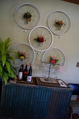 Recycled bike wheel wall art bicycles upcycle reuse for Bicycle wheel wall art