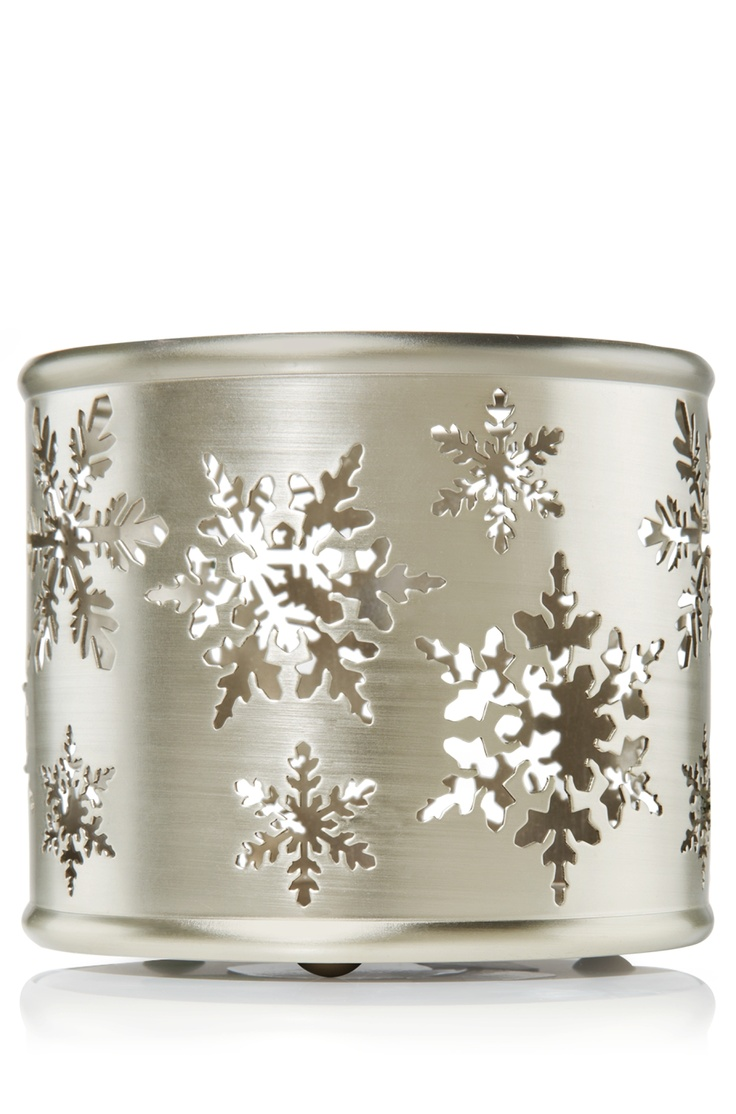 Silver Snowflake Cutout 14.5 oz. 3-Wick Candle Sleeve - Slatkin & Co ...