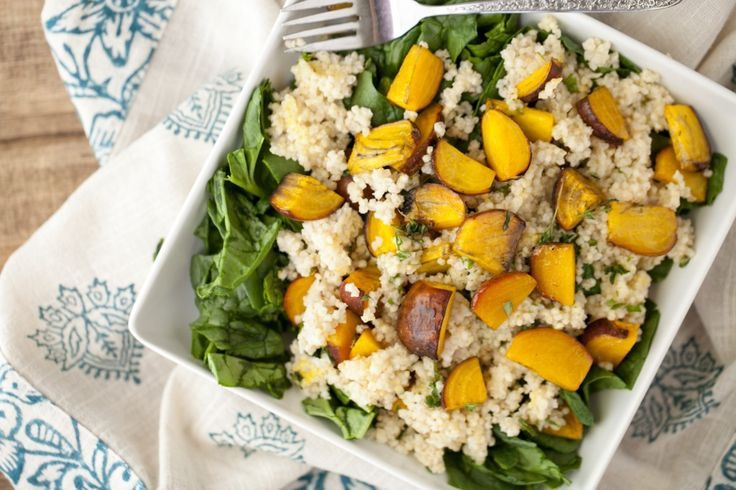 : Roasted Golden Beet and Millet Spinach Salad with Herb Dressing ...