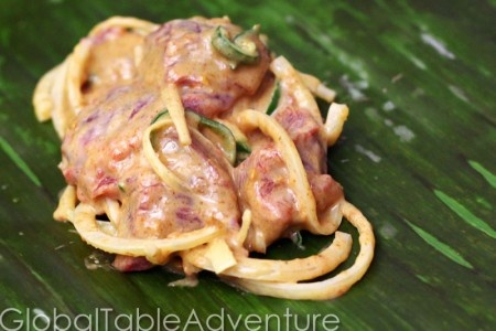 Goat in Banana Leaves with Spicy Peanut Sauce | Recipe