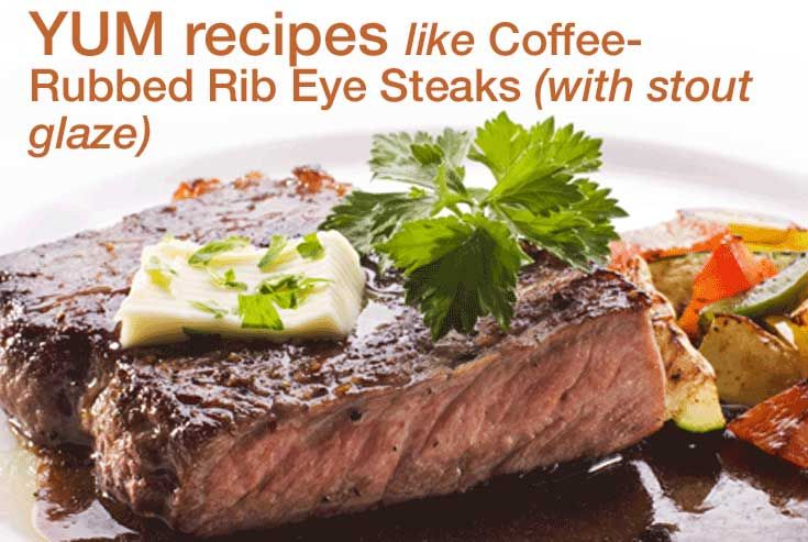 Coffee-Rubbed Rib Eye Steaks with Stout Glaze - spark your grilling ...