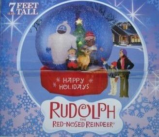Christmas airblown inflatable gemmy rudolph bumble snow globe blow up