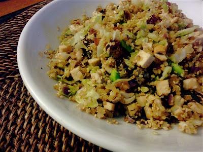 Warm Quinoa Salad w/ Tofu, Shiitakes and Cabbage