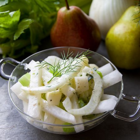 Pear, Jicama & Celery salad in soy-cream dressing with preserved lemon ...