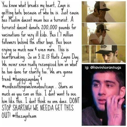 Let's do it guysI feel super super bad for Zayn. STOP THE HATE