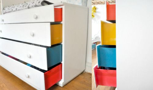 Side-colored drawers