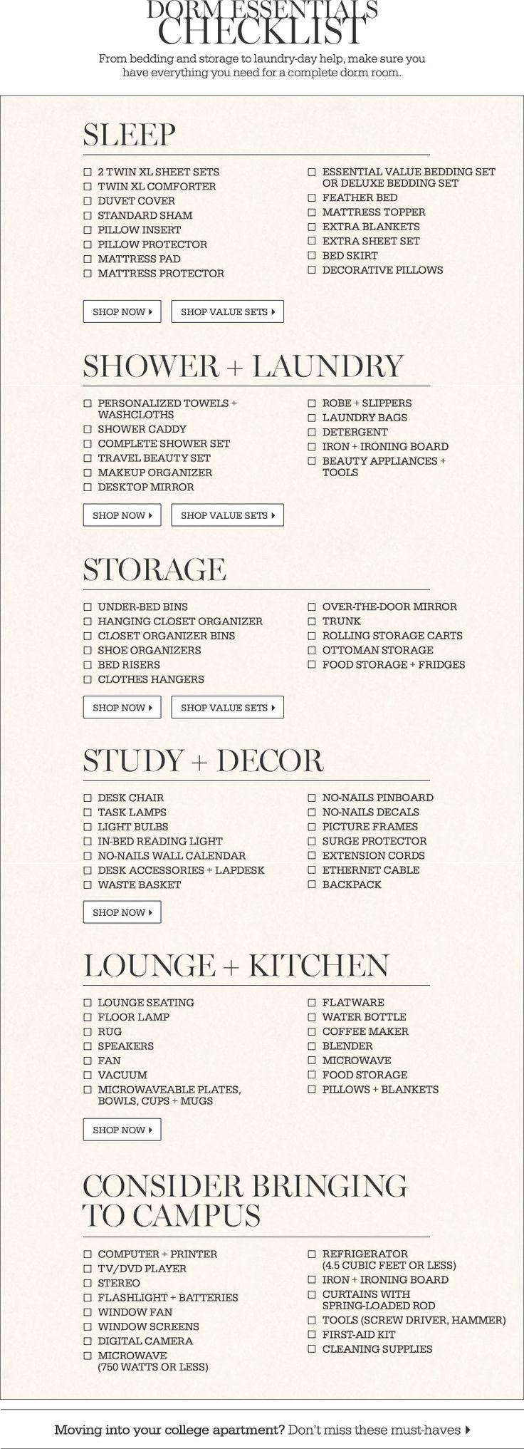 Dorm Essentials Checklist College Steven Pinterest