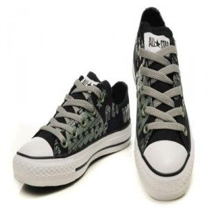 Black Converse All Star Womens Shoes Canvas American Flag And Letters
