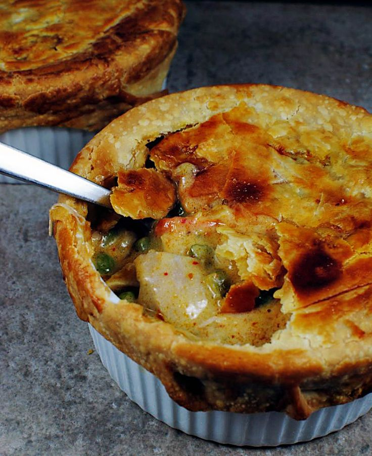 Curry turkey pot pie - filling has curry, coconut milk and cilantro