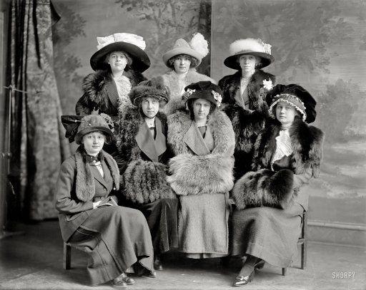 "Washington, D.C., circa 1912. ""Gunston Hall group."" Students at the tony girls' school. Harris & Ewing Collection glass negative."