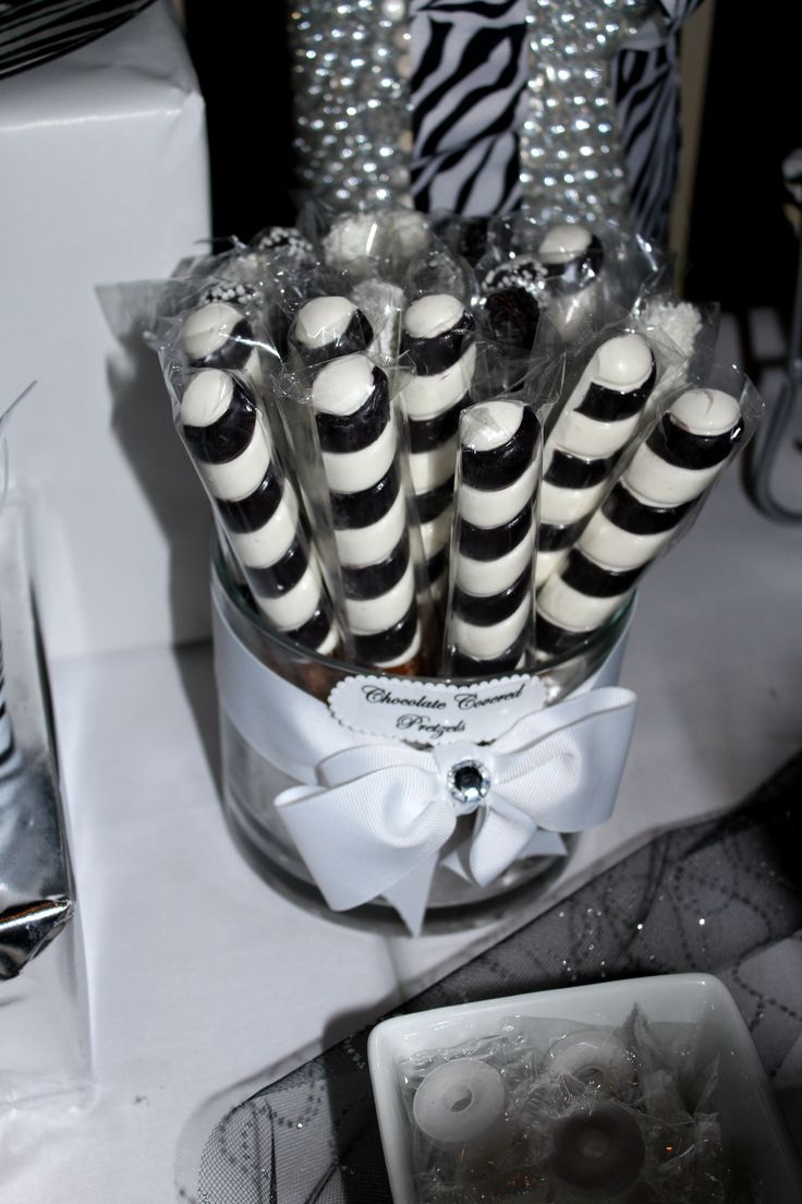 Chocolate Covered Pretzel Rods | Black & White Sweet 16 Candy Table ...