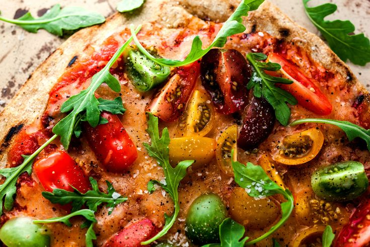 Pizza on the Grill With Cherry Tomatoes, Mozzarella and Arugula: View ...