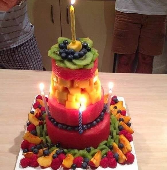 Birthday cake made from fresh fruit  Healthy Party Options  Pintere ...