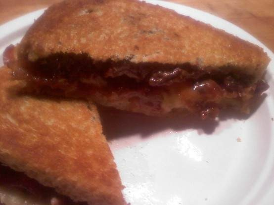 grilled peanut butter, banana, bacon, nutella, and caramel sandwich