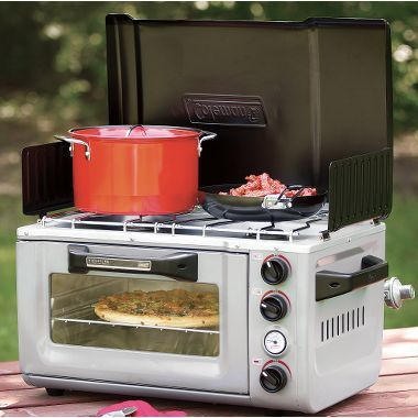 Portable oven/stove. Not sure how I feel about it taking the fun out of camp-cooking and all (food always tastes better when you gotta work for it!); but seems handy.