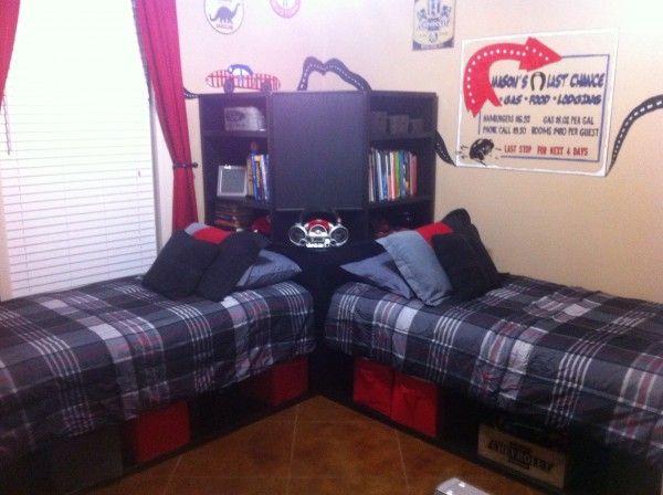 Boys room twin storage beds diy for Room design 11x13
