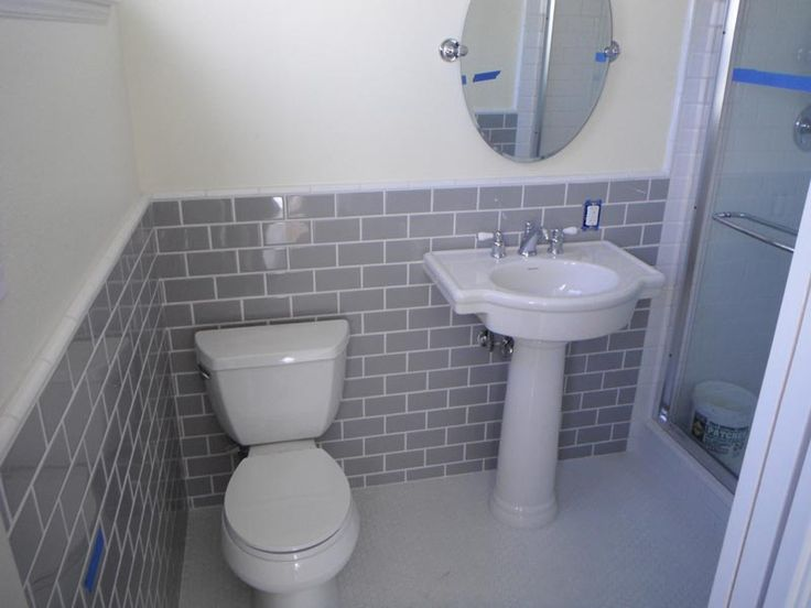 Gray subway tiles bathroom ideas pinterest for Grey tile bathroom ideas