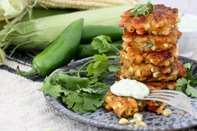 Spicy Corn Fritters with Cilantro Cream   Vegetarian + Vegan   Pinter ...