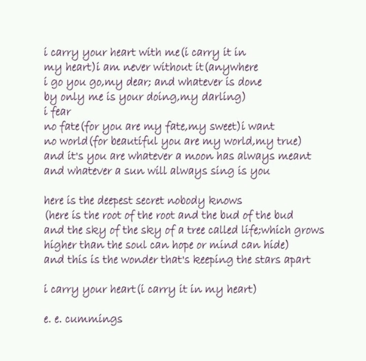 """essays on e.e. cummings poems Free essay: i carry your heart with me the poem i have chosen to interpret is called """"i carry your heart with me"""", written by ee cummings i chose this one."""